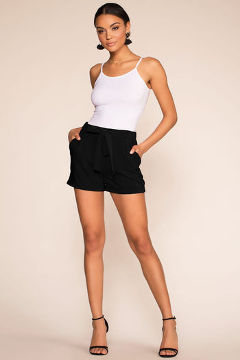 Shop Priceless | High Waisted | Paperbag Shorts | Black | Womens