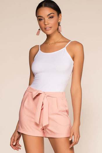 Shorts - Tie A Ribbon High Waisted Paperbag Cuffed Shorts - Mauve