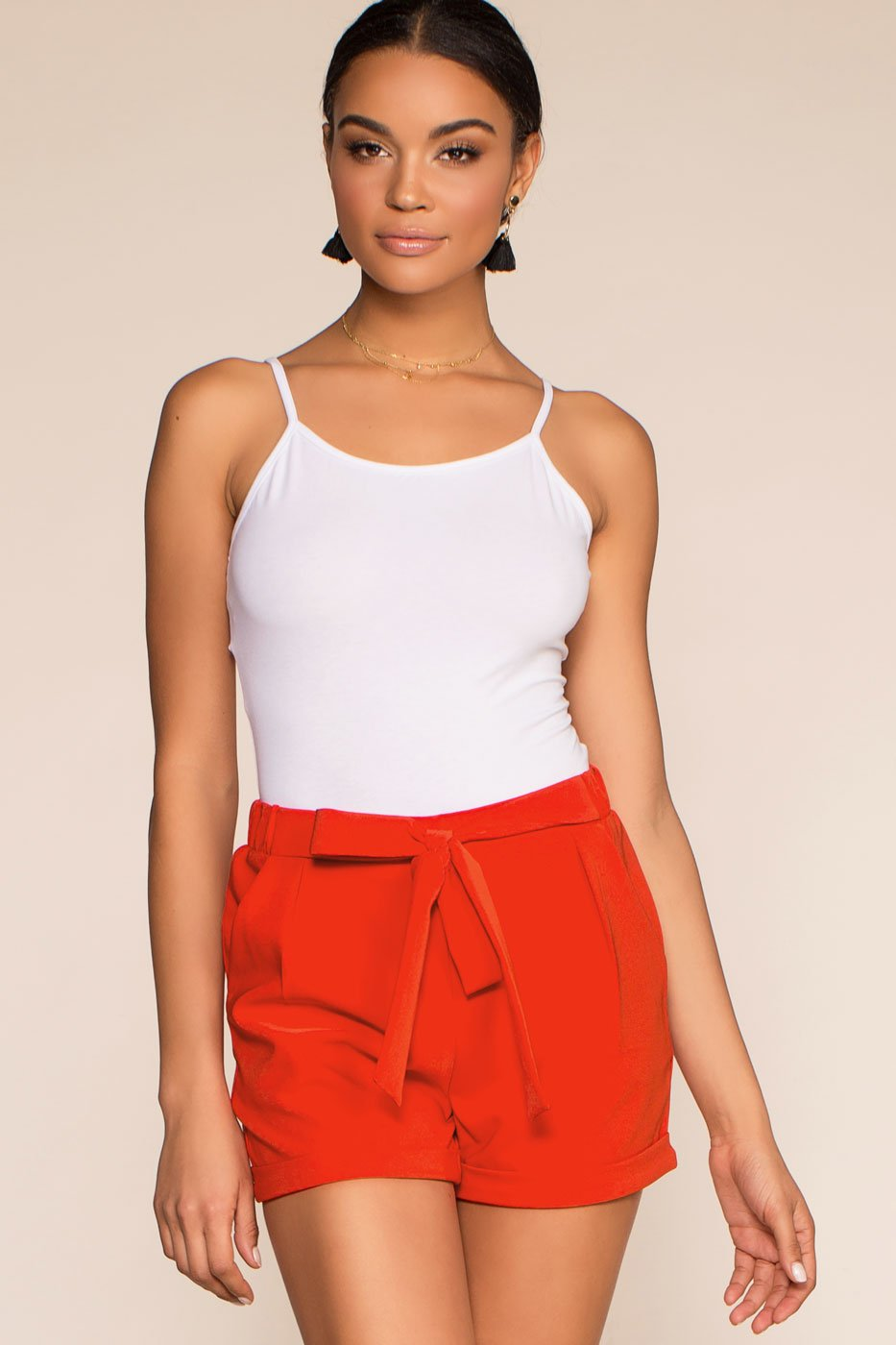 Shorts - Tie A Ribbon High Waisted Paperbag Cuffed Shorts - Red