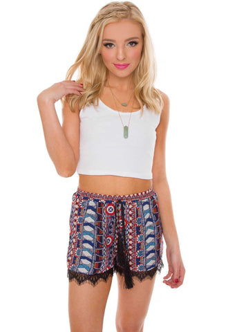 Sunset Stroll Floral High Waist Shorts - Red