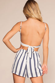 Shorts - Tow The Line Stripe High Waisted Shorts - Navy