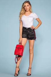 Shorts - Track It Distressed Denim Shorts - Black