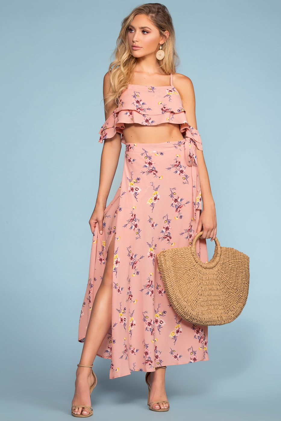 High Waisted Wrap Floral Maxi Skirt