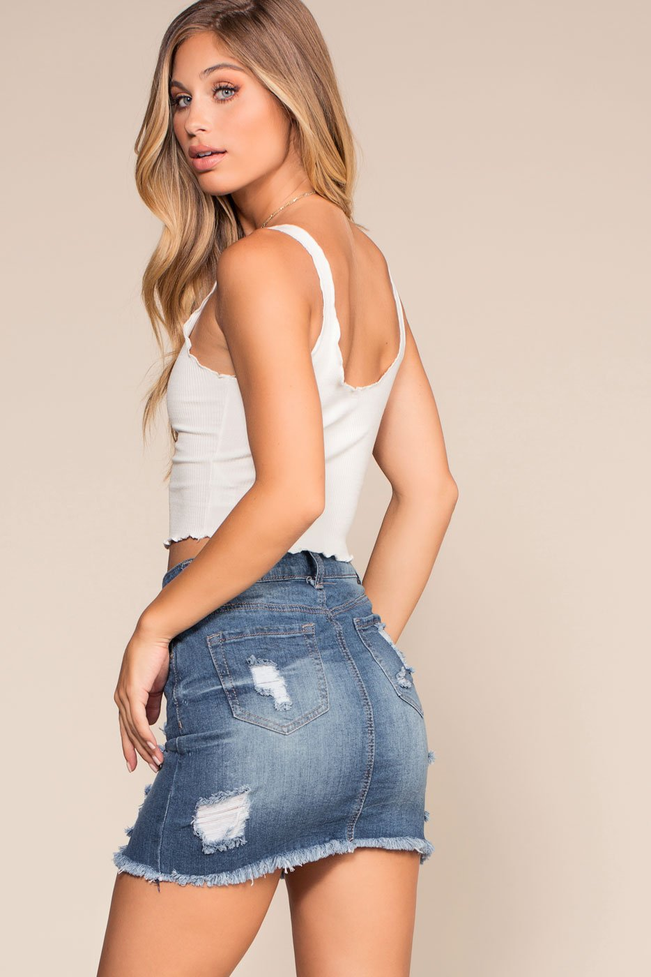 Medium Wash Distressed Denim Mini Skirt