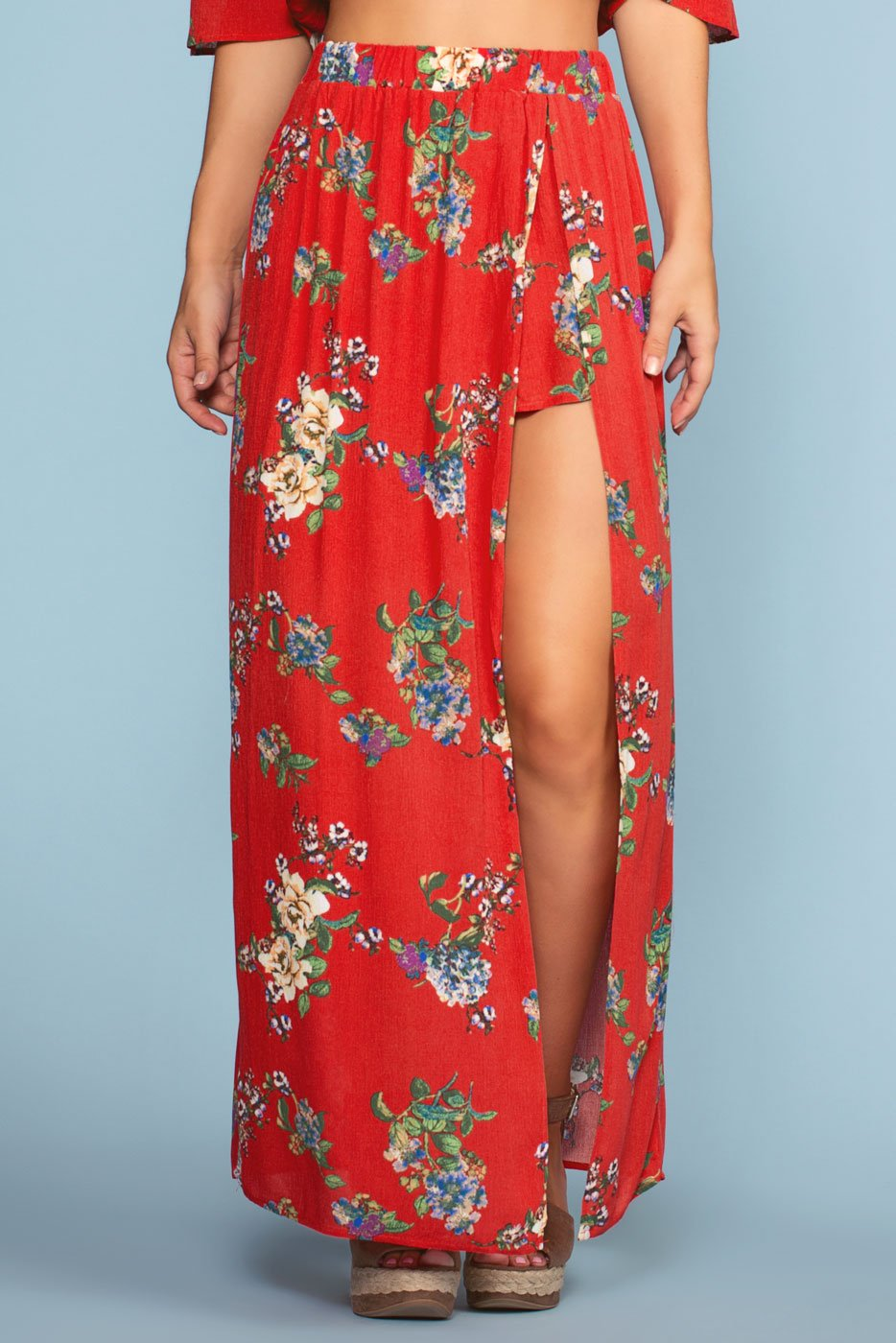Skirts - Barefoot At Dusk Maxi Skirt - Red