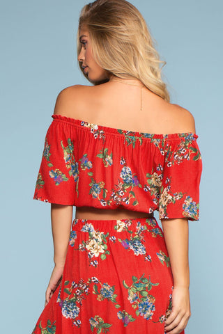 Skirts - Barefoot At Dusk Off The Shoulder Top - Red