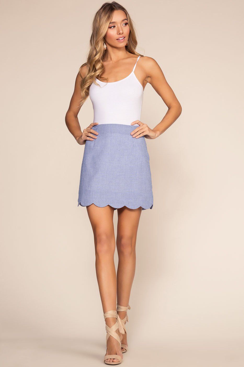 Blue Scalloped Gingham Skirt