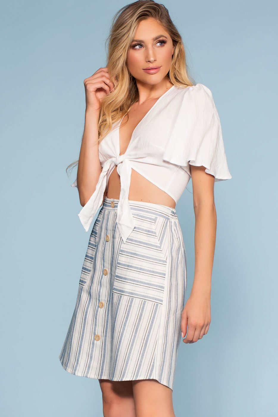 Blue and White Stripe Button-Up Mini Skirt