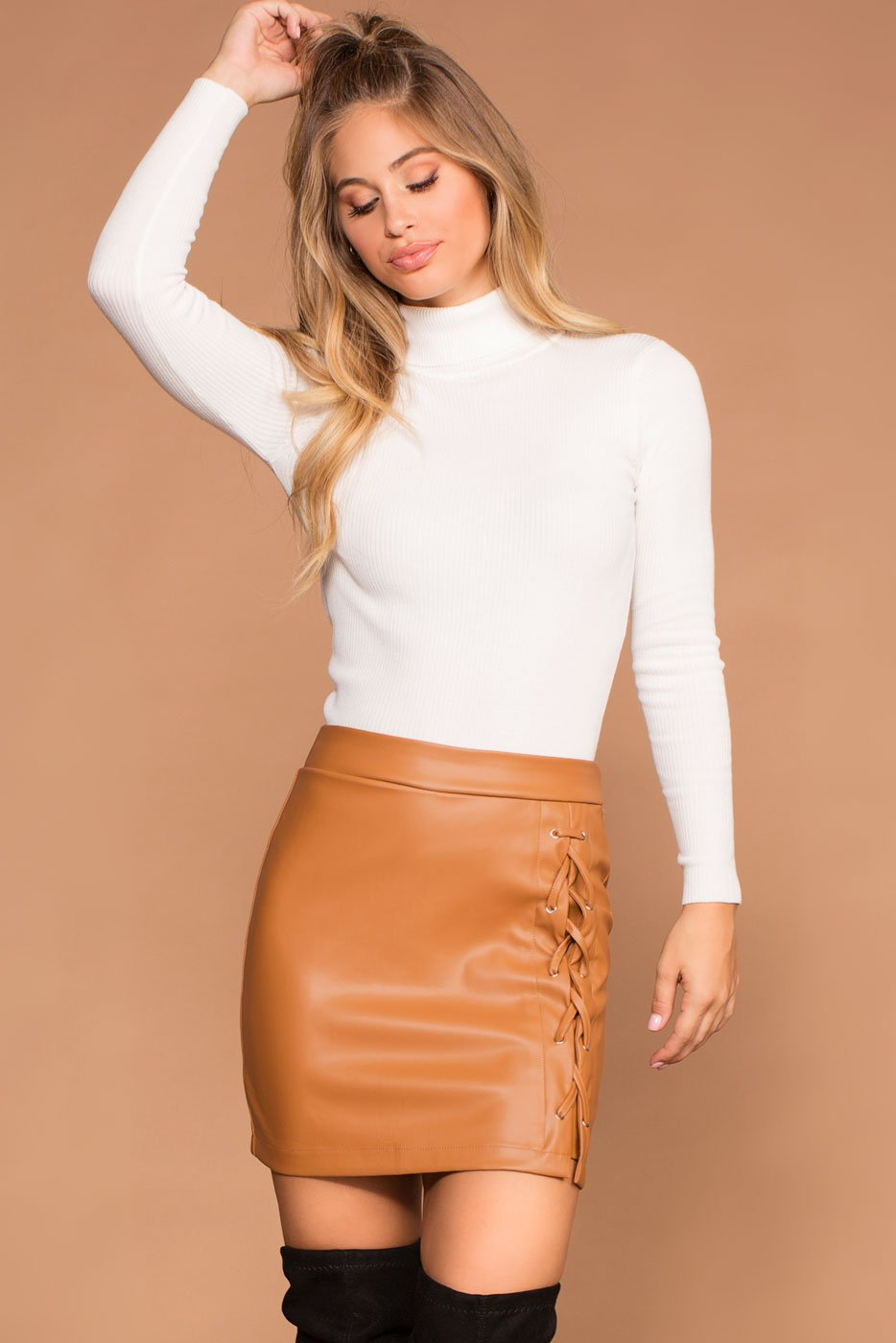 Skirts - Charlie Camel Lace Up Skirt