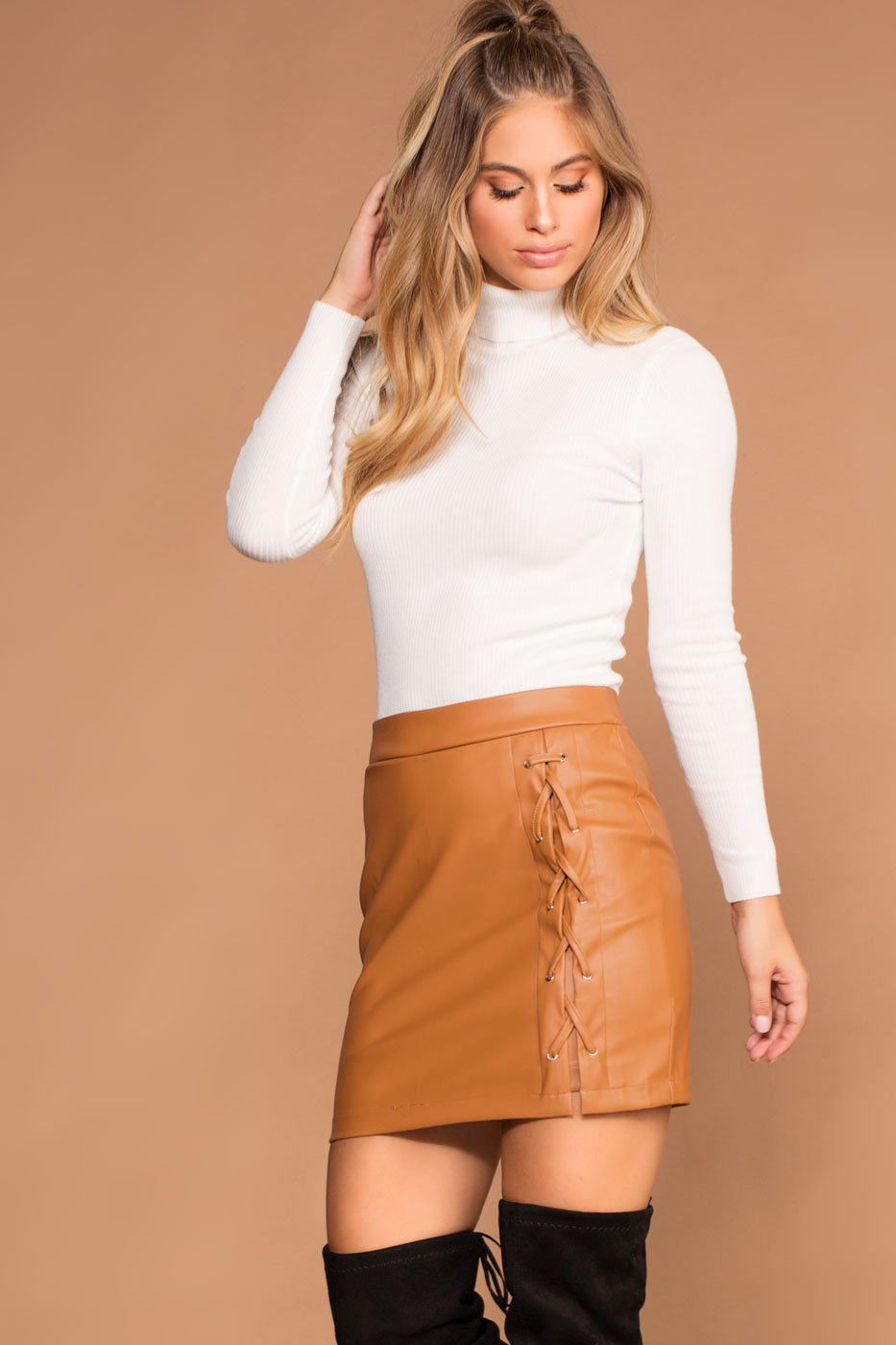 Camel Faux Lace Up Skirt