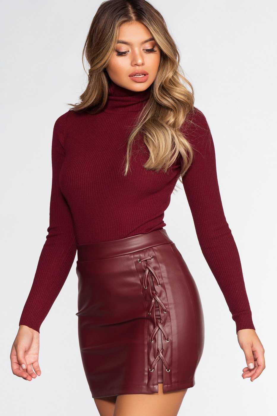 Skirts - Charlie Lace Skirt - Burgundy