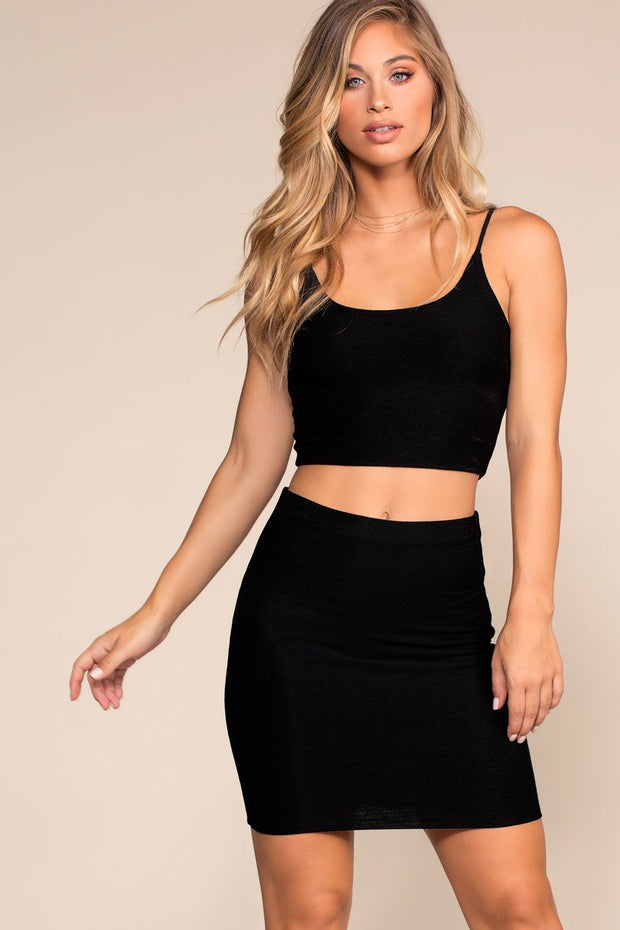 Black Soft Knit Pencil Skirt
