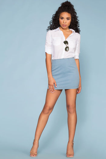 Light Wash Denim Mini Skirt