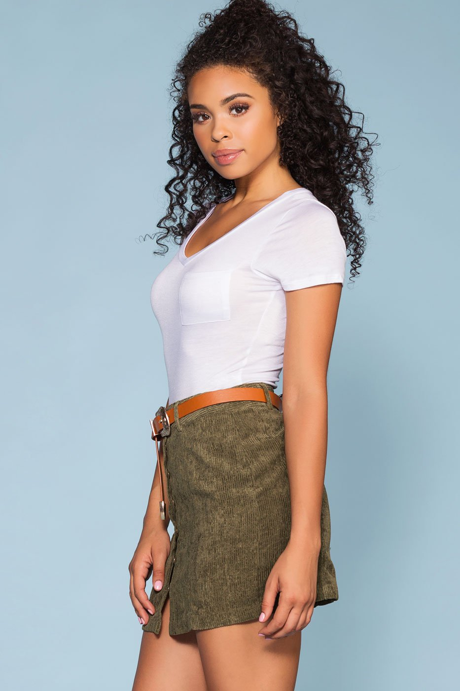 Skirts - Sara Snap Front Corduroy Skirt - Olive
