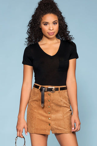 Ready, Set, Style Vegan Leather Striped Mini Skirt