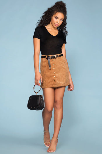 Skirts - Sara Snap Front Corduroy Skirt - Tan