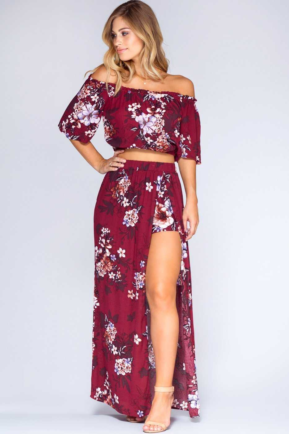 Skirts - Sunset Dreams Maxi Skirt - Burgundy