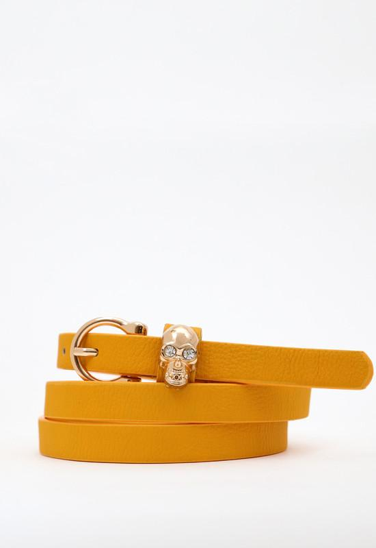Mustard faux leather skinny belt featuring gold skull and a buckle closure