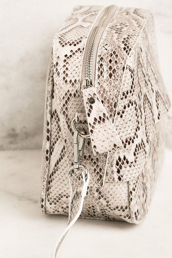 White Snakeskin Shoulder Bag