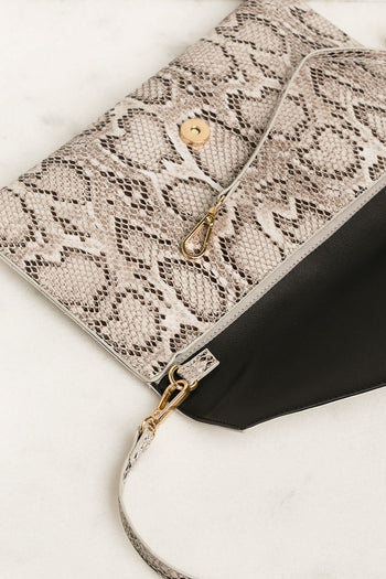 White Snakeskin Envelope Clutch