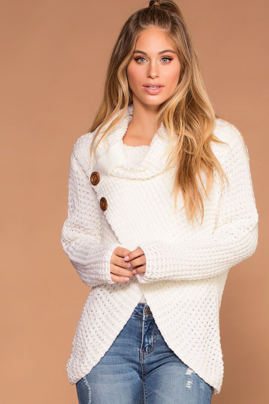 853ab6a95 Candy Ivory Button Cowl Sweater
