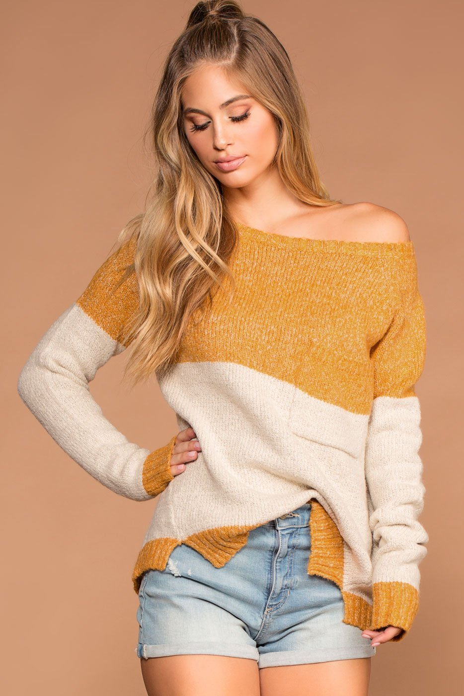 Sweaters - Cuddle Up Oversize Knit Sweater - Mustard And Ivory