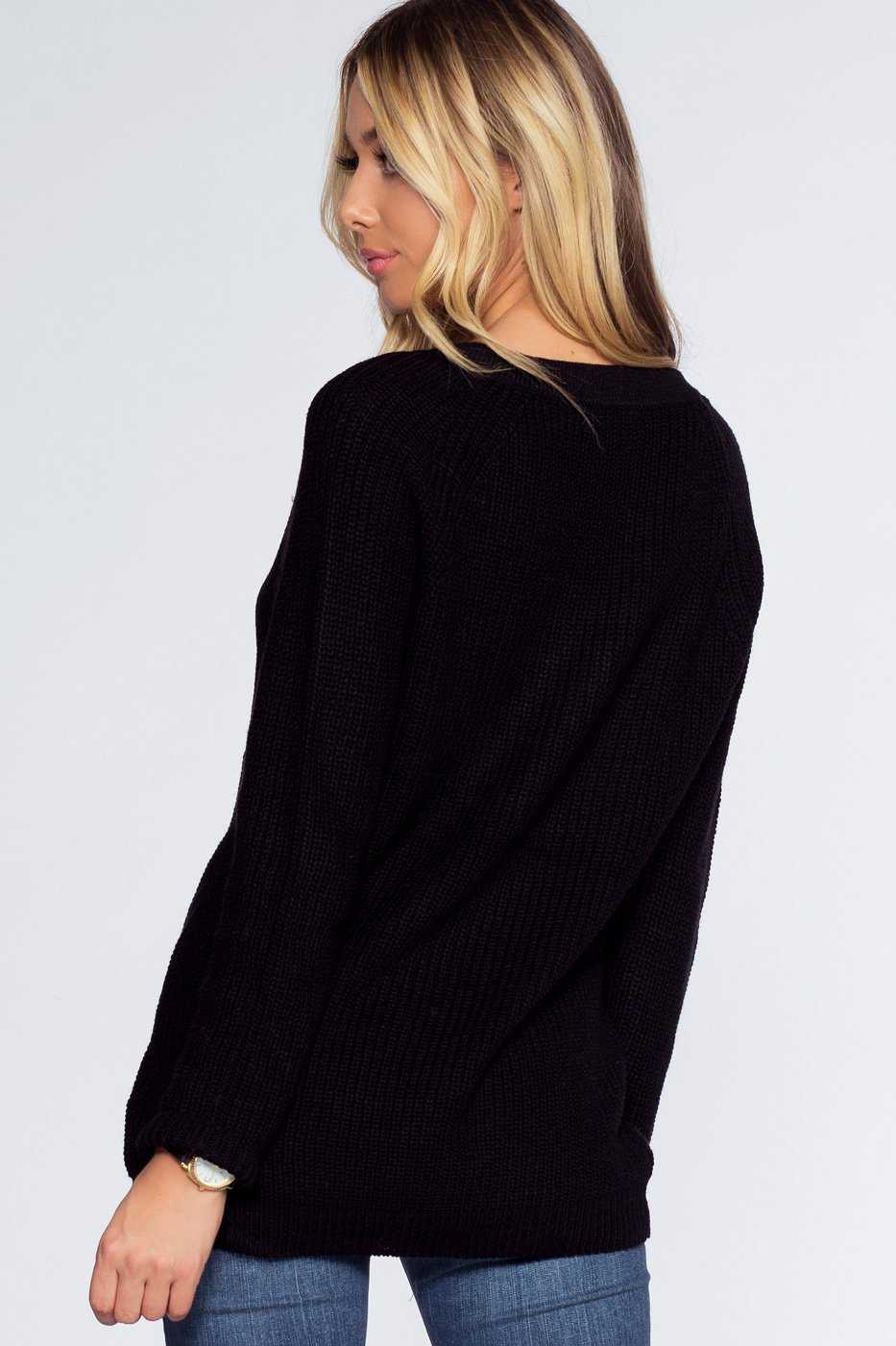 Sweaters - Elsa Lace Up Sweater - Black