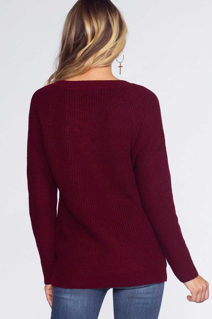 Sweaters - Elsa Lace Up Sweater - Burgundy