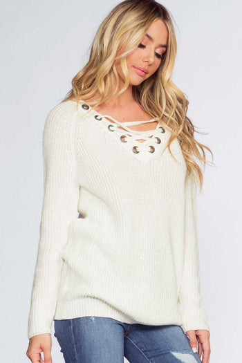 Sweaters - Elsa Lace Up Sweater - Ivory