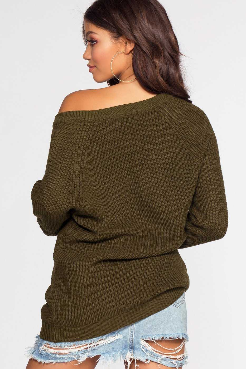 Sweaters - Elsa Lace Up Sweater - Olive