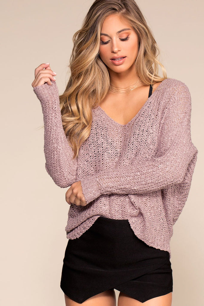 Sweaters - Here And Now Twist-Back Sweater - Lilac