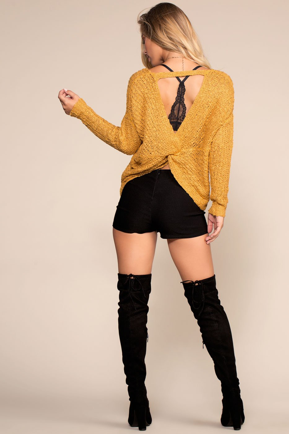 Sweaters - Here And Now Twist-Back Sweater - Mustard