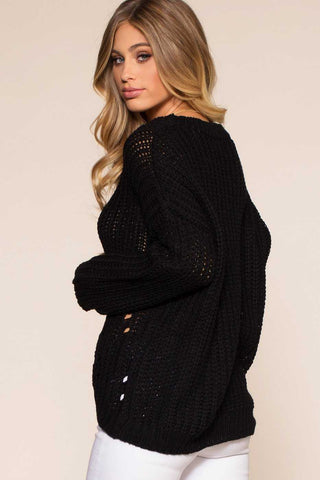 Maria Coffee Waffle Knit Round Neck Sweater Top