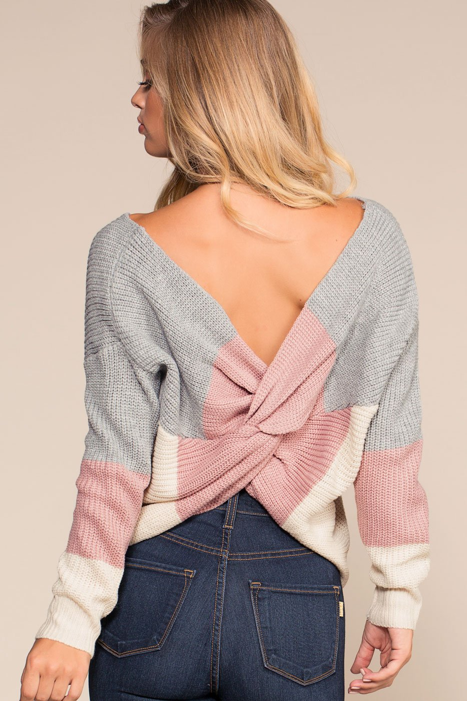e67d7b7d74 Women s-Backless-Sweater-Twist Back-V Neck-Knitted-Pullover-Sexy