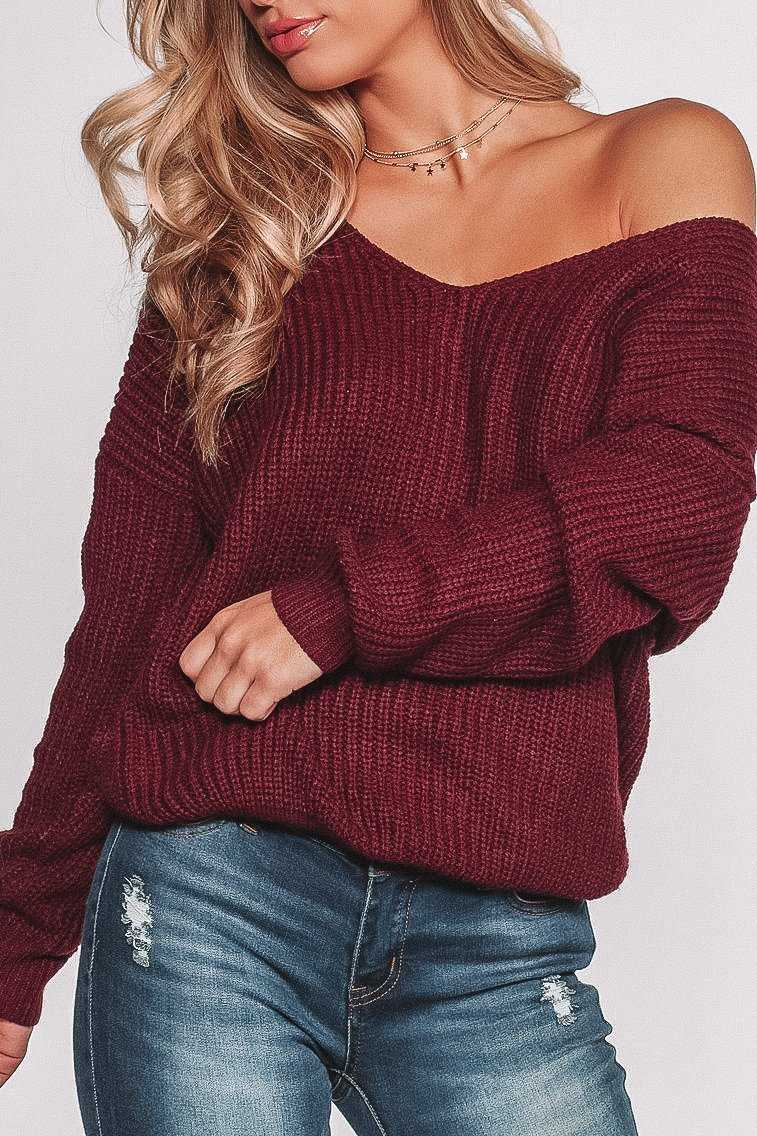 Sweaters - Twist And Shout Sweater - Burgundy