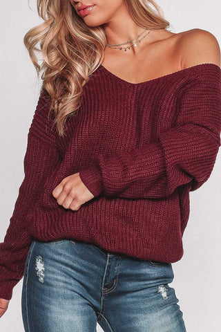 Debra Peach Knit V-Neck Loose Knit Sweater Top