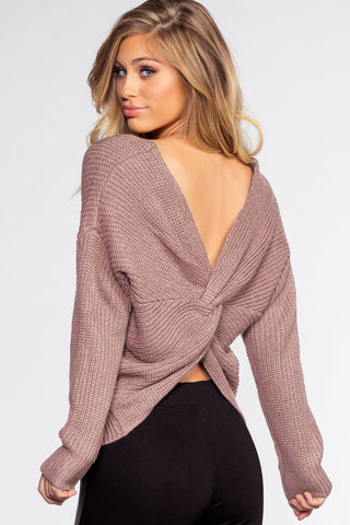 Swirl Twist Back Knit Sweater - Ivory