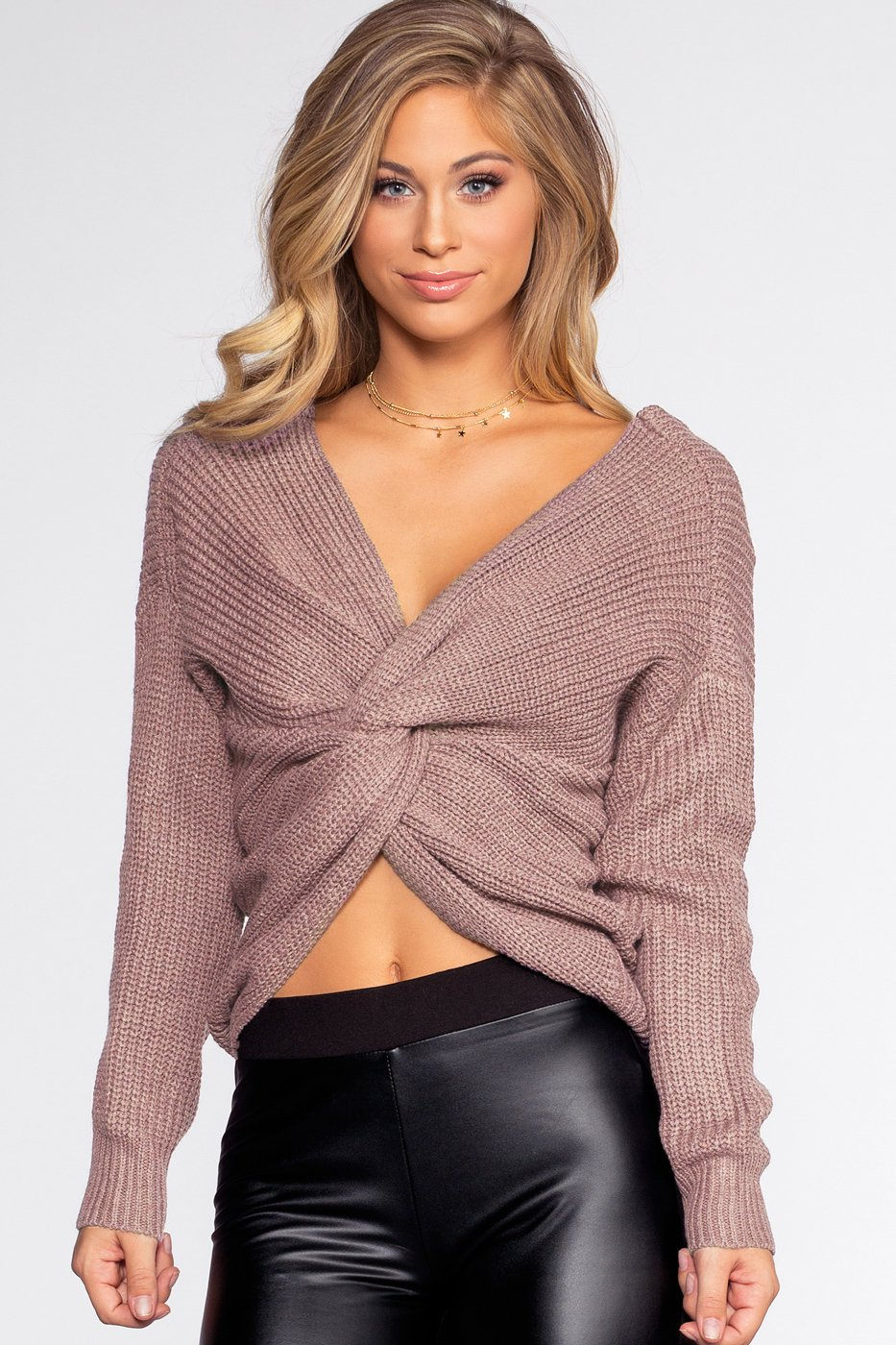 Lilac Twist-Back Sweater