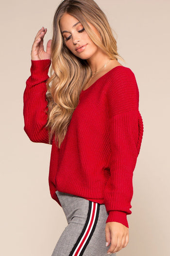 Sweaters - Twist And Shout Sweater - Red