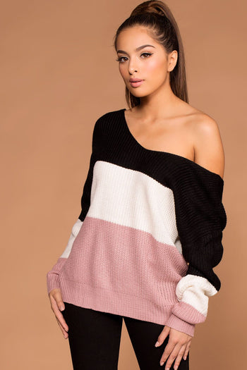 Sweaters - Whirlwind Twist-Back Knit Sweater - Blush
