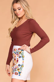 Marsala V-Neck Sweater Long Sleeve