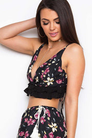 Black Floral Ruffle Crop Top
