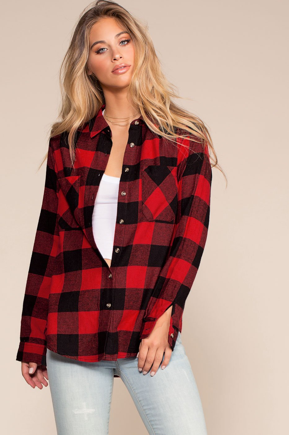 Tops - Ace Flannel Top - Red
