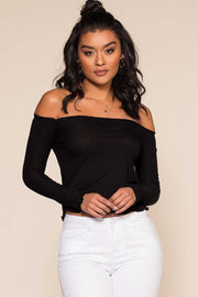 Black Off The Shoulder Ribbed Top with Lettuce Hem