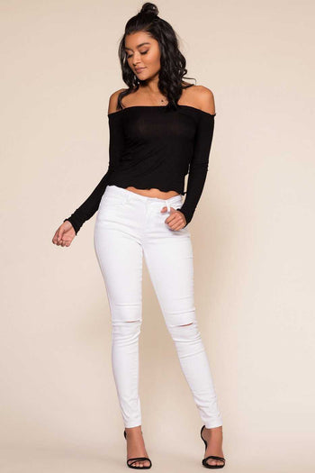 Tops - Ainsley Off The Shoulder Top - Black