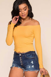 Honey Off The Shoulder Ribbed Top with Lettuce Hem