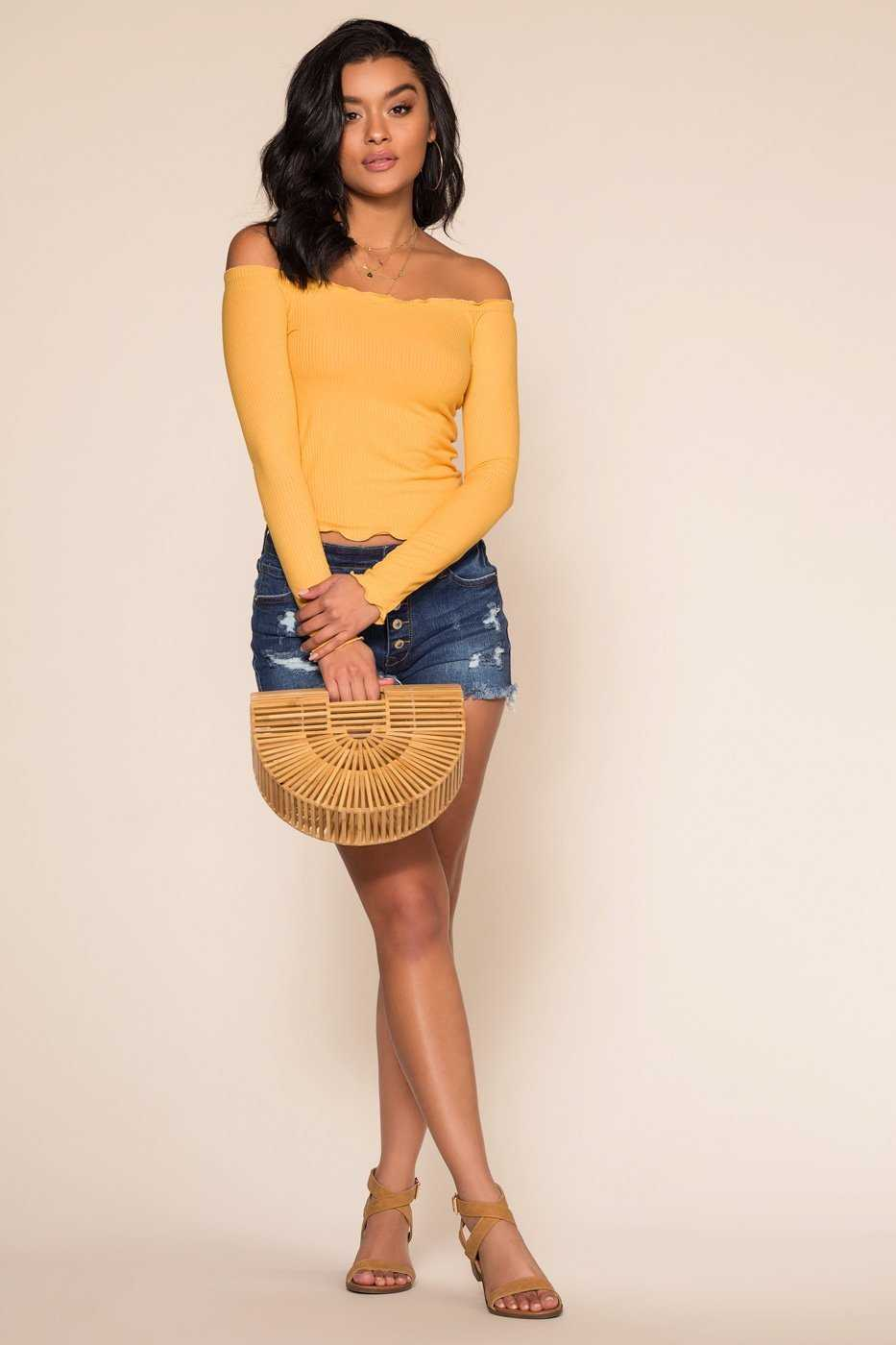 Tops - Ainsley Off The Shoulder Top - Honey