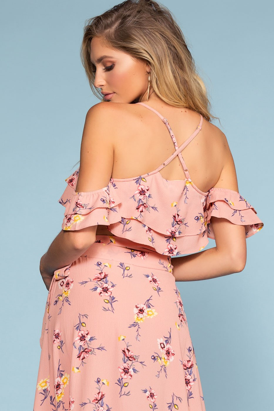 Off-the-Shoulder Crop Top in a Mauve Floral Print