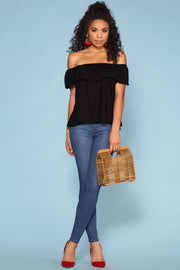 Black Ruffle Off The Shoulder Top