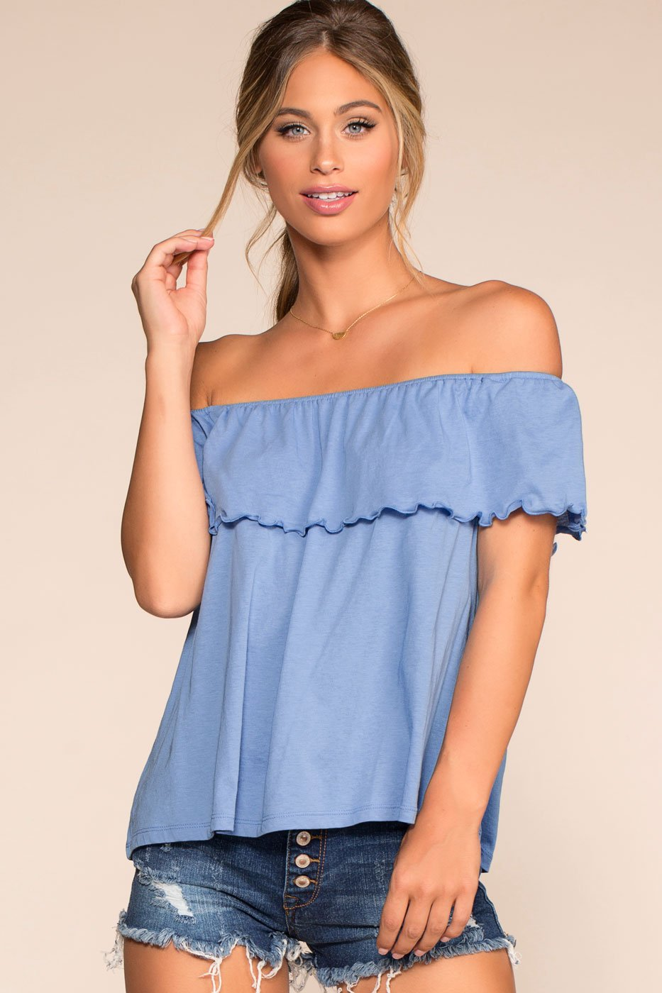 3d1b8ce6ae5c9 ... Tops - Alley Off The Shoulder Top - Blue ...